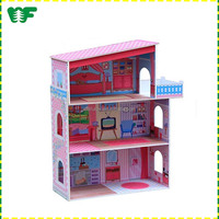 Happy family Wooden toy doll house for doll with mini furniture picture