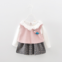 New style child model cotton Latest baby dress with sleeves