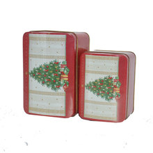 Christmas tree square tin box with foam insert inner golden clear printing packing hinged lid tin can set