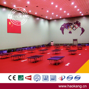 ITTF Approved High Quality Red PVC Vinyl Sports Flooring for Table Tennis Court