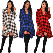 latest shirt designs for women2017 Manufacturers selling hot women's sexy Plaid Shirt and ladies skirts and blouses