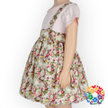 Suspender Pattern Baby Girls Dresses Floral Print Cotton Dress Lovely Girls Party Dresses