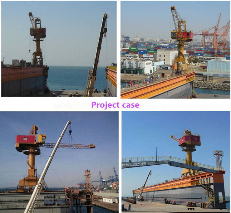 30t four link mobile jib harbour rail mounted portal crane