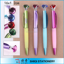 Gift shinning big diamond ball pen with rubber grip