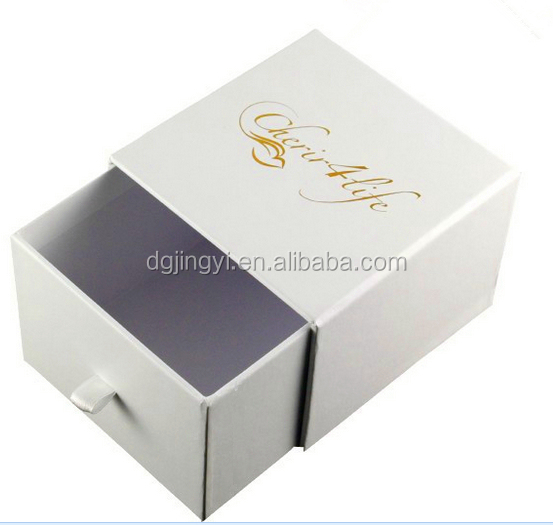 Logo hot stamping white paper jewelry drawer packaging box