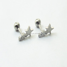 Stainless Steel Tragus Helix Ear Stud Earring Ball Barbell Ear Piercing Silver