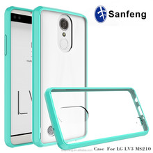 TPU Frame Hard Back Acrylic Cases Shockproof Transparent Clear Cover For LG Aristo MS210 LG LV3/K8 2017