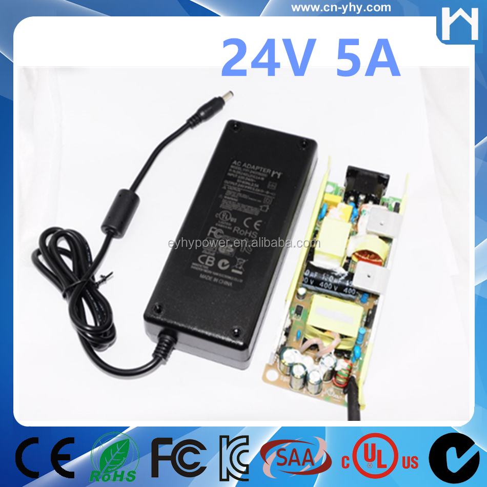 24Vdc 5A 5000ma Power Adapter Supply UL Listed Certified 24V 5Amp AC Adapter