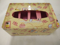 rectangular tin box , paper tin case