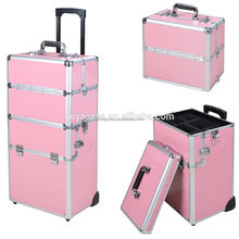new design professional aluminum makeup artist wheel luggage trolley case