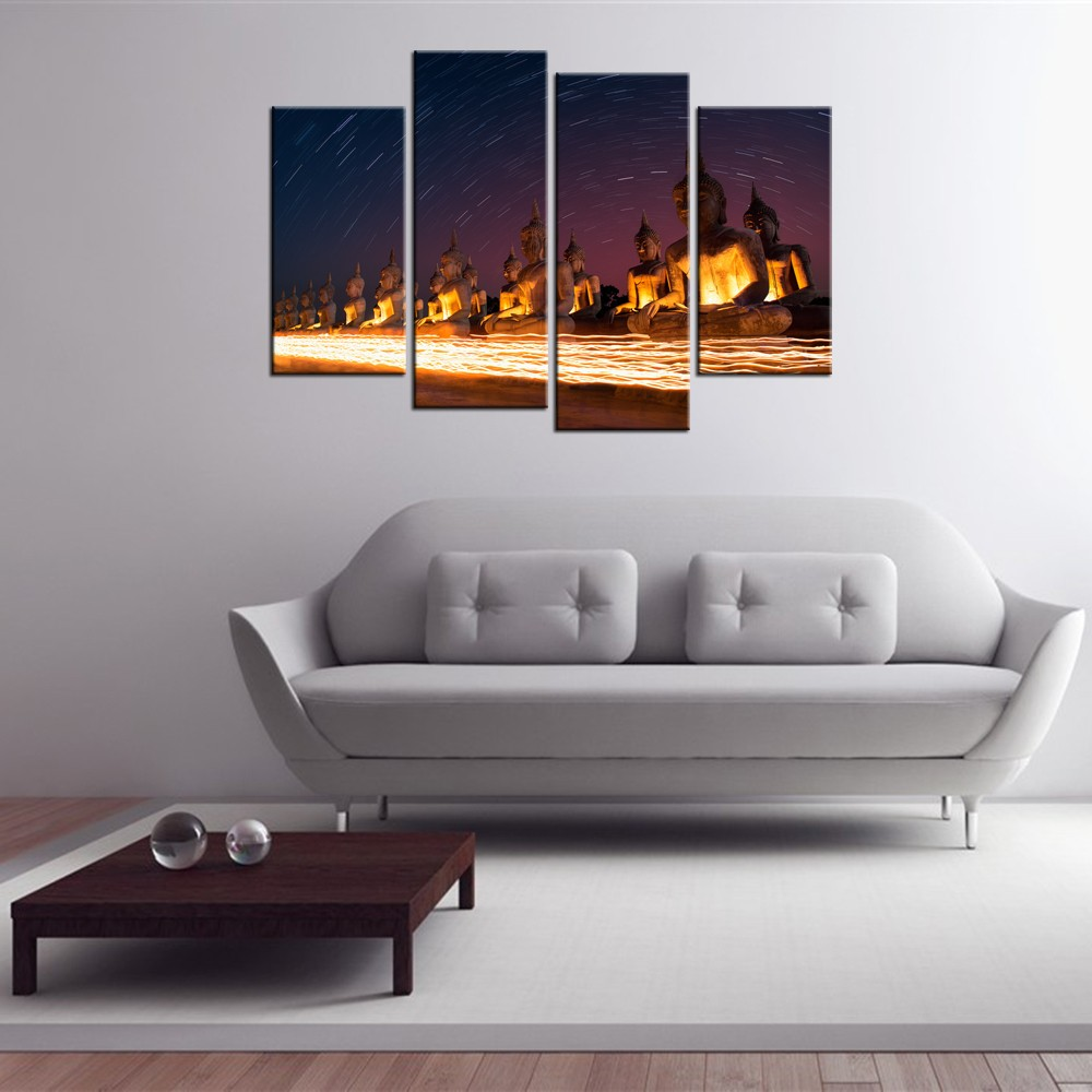 Buddhist Statues Canvas Painting/Buddhism Buddha Drawing on Canvas/Starry Sky Canvas Printing 4Pcs