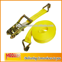 2inch/2T breaking strength ratchet cargo lashing belt for fastening luggage with double j hooks