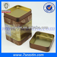 square metal tea container with double lids