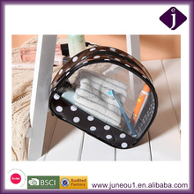 Transparent Semicircle visual black color Cosmetic Bag,Eco-friendly PVC Toiletry Bag with dot