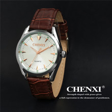 CHENXI 006A Gents High Quality Japan Movt Watch CHENXI Price Men Luminous Quartz Slim Case Leather Strap Wrist Watch