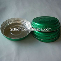 Airline catering container round silver tray