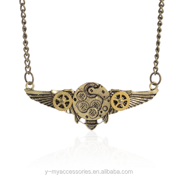 Cool flying wings combo with gears metal alloy pendant steampunk necklace jewelries