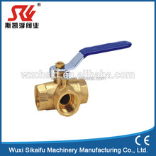 Professional three way factory supply manual thread type brass ball valve with hand lever