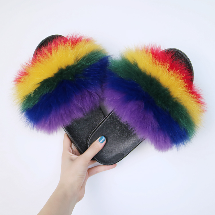 6eba2b2fd55 Rainbow Style Fox Fur Slides Natural Real Fur Two Color Slipper ...