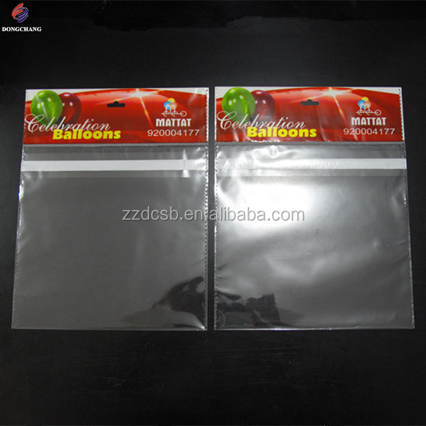 Custom printed bopp header plastic bag with euro slot and permanent tape for balloon packaging