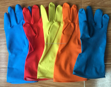 Cotton Lined Latex Rubber Gloves Household Latex Rubber Gloves