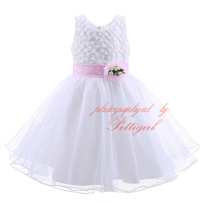 Pettigirl New 2016 Girl Weeding Dress With Flower Sash White Baby Frock Designs Wholesale Children Clothing MBGD90220-4
