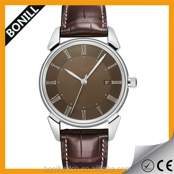 Hot sale 316L silver steel roman numerals romanson leather watch