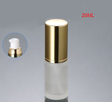 20ml frosted glass gold press pump bottle with gold cap ,glass 20 ml frost lotion bottle with gold lid,20 ml glass lotion bottle