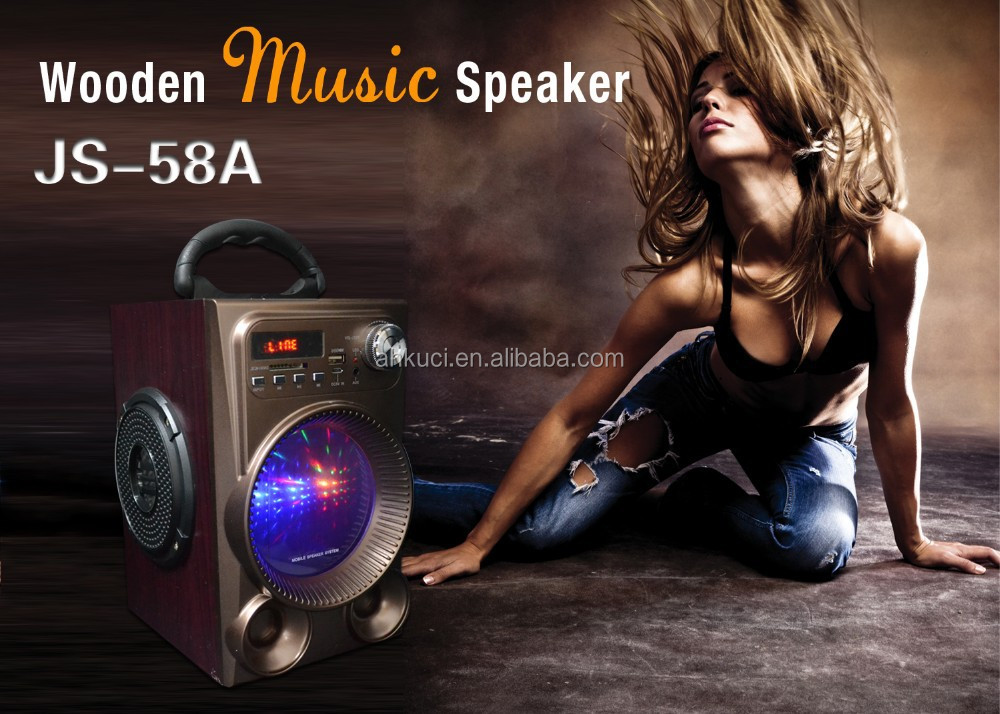 Rechargeable Powered Outdoor Wooden USB SD Remote Control LED Wireless Portable MP3 Speaker