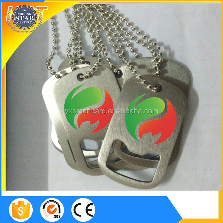 1.5mm thickness stainless steel metal card bottle opener, metal dog tag bottle opener