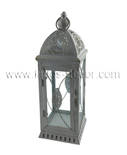 Large white metal square glass garden candle lantern hanging or tabletop wedding