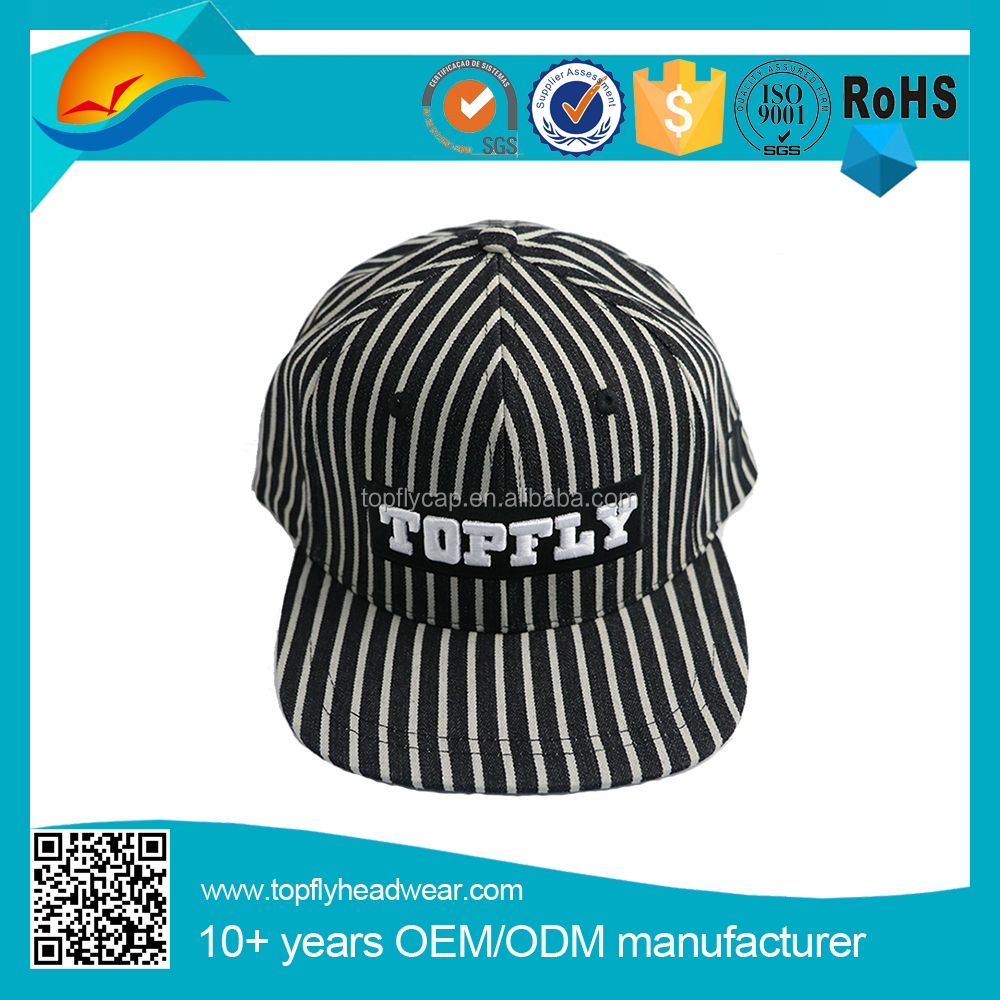 Eco-friendly Black and white stripe 3d embroidery logo snapback cap