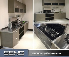 Linear Modern Style Wall Kitchen Cabinet Design for Small Apartment Home Hotel