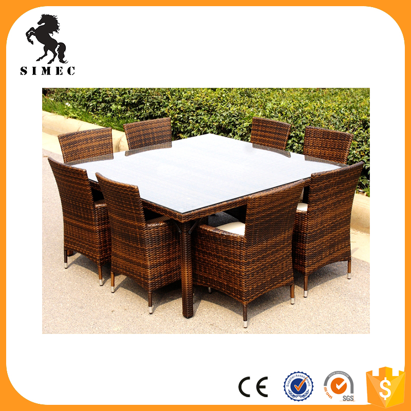 Standard outdoor rattan garden furniture dining set table