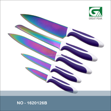 Colorful titanium coated kitchen knife with PP handle