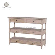 French style solid oak wood 3 tiered console table with drawer and open shelf