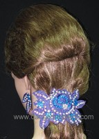 07 Traditional Headpiece with flower appliques to match Dancedresspro's Ballroom Dance Dress
