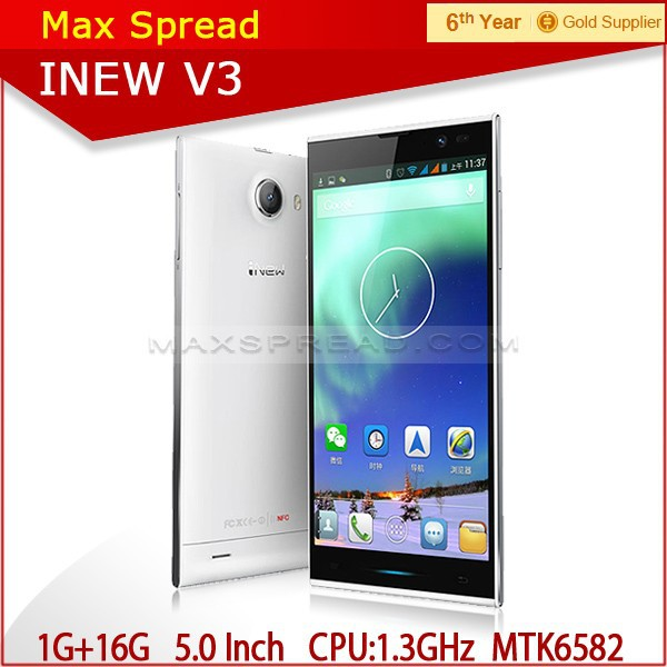 Original iNew V3 MTK6582 Quad Core Mobile Phone 5.0'' IPS Screen 1G RAM 16G ROM Android 4.2 13MP Camera NFC OTG 6.5mm