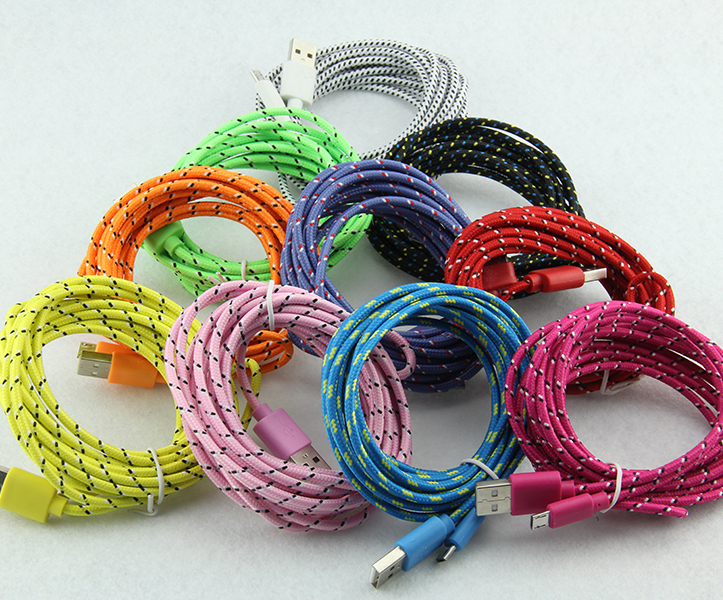 3M 10ft meters Cable for iphone6 5 Fabric USB Braided Wire Data Sync Woven 9ft Colorful Cord Woven Cable for iPhone 6 7 plus