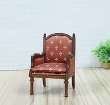 1:12 Miniature Dollhouse wooden furniture countryside style home decoration sofa chair with Arm, side sofa with cushion, QW60294