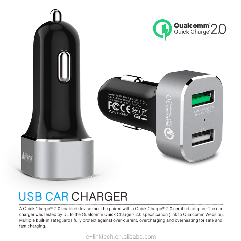 iFans Qualcomm QC 3.0 dual USB Car charger with controller IC & quick charge 2.0 for Apple and Samsung Series in Aluminium Alloy