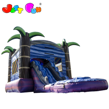 new design marble purple inflatable bounce house, inflatable slide combo with water pool for kids