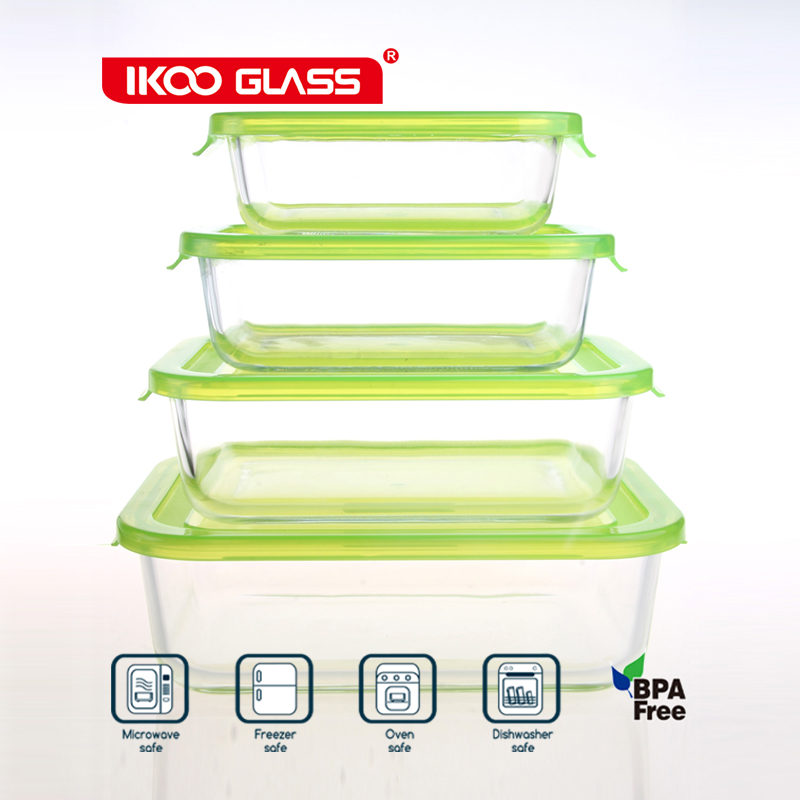 airtight rectangular glass food storage container/glass lunch box
