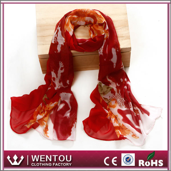 Wholesale high quality lady nice chiffon real madrid scarf