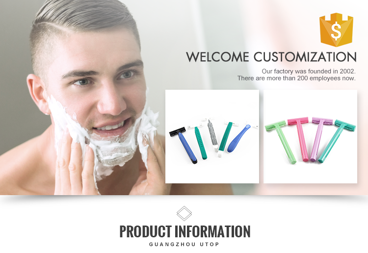 wholesale high quality plastic disposable straight shaving hotel razor