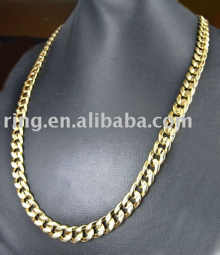 "Mens 22K Yellow Gold GP 24"" Chain Link Necklace 10mm"