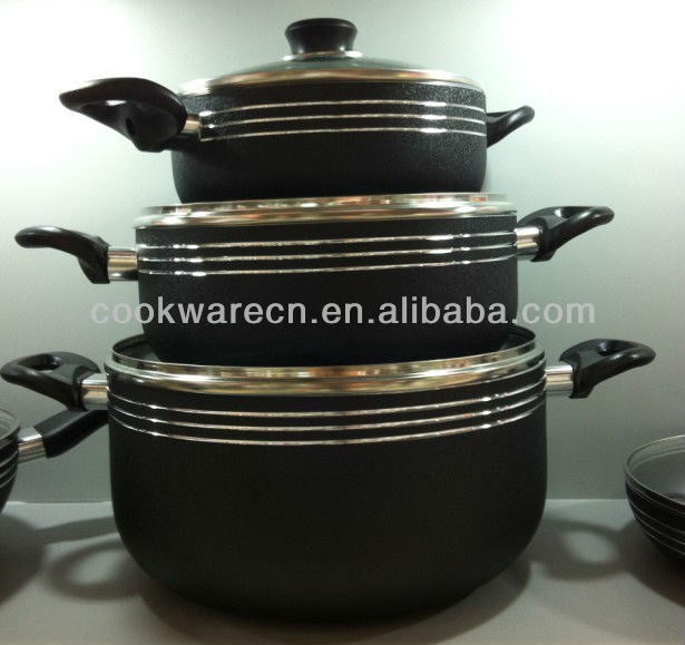 6PCS Aluminum nonstick cookware steamer pot