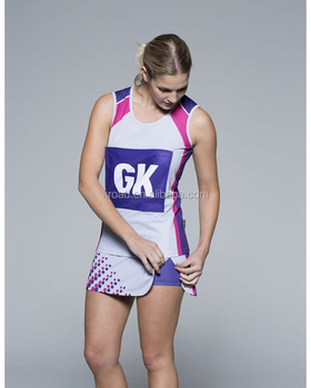 Cheap wholesale girls sexy Plus size custom sublimation sport netball uniforms skirts dresses jersey kit with netball bibs