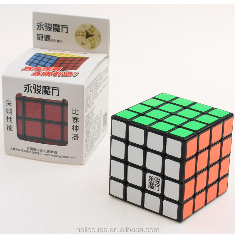 Hot Wholesale Yongjun YJ GuanSu 4x4x4 Speed Cube Puzzle Balck 62mm 4x4 Magic cubes Educational Toys
