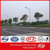 Steel Tapered Polygonal Galvanized LED Double Arm Street Light Pole